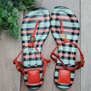 Tory Burch Striped T Strap Sandals Size 9